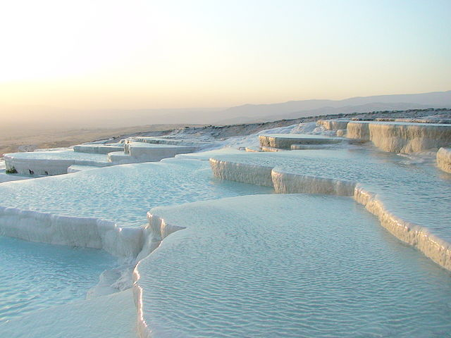 The saltpans of Pamukkale look arctic, even in the middle of summer