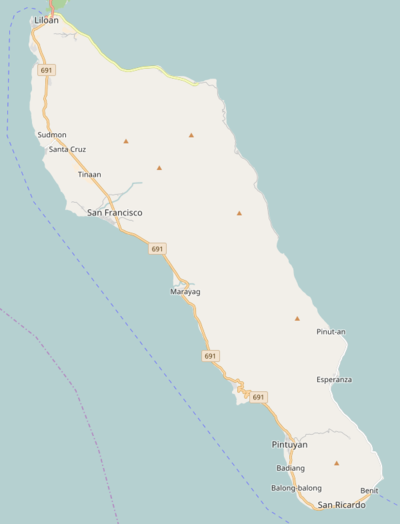 Panaon Island with biggest cities and villages