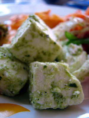 Cheese curd - Cubes of paneer in a salad served in an Indian restaurant in Mumbai