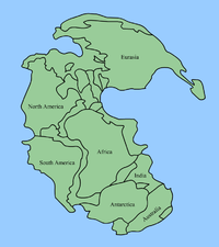 Pangaea, the most recent supercontinent, existed from 300 to 180 million years ago. The outlines of the modern continents and other land masses are indicated on this map.