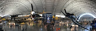 Steven F. Udvar-Hazy Center - Panorama of the interior of the Udvar-Hazy Center.