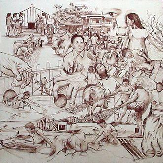"Pantabangan, Nueva Ecija - Pantabangan History (1970-1999) Phase II, Blood Mural Painting 4x4ft of Elito ""Amangpintor"" Circa"