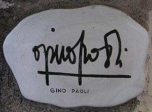 Gino Paoli - Autograph of Gino Paoli on the muretto of Alassio