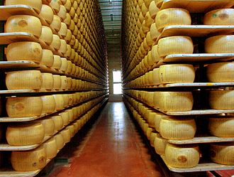 Food industry - Parmigiano reggiano cheese in a modern factory.