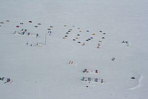 Patriot Hills Base Camp - Aerial view of base camp tents