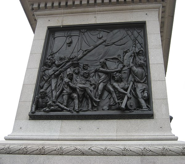 "Inscription at the bottom of The Death of Nelson, a bas-relief by John Edward Carew affixed to Nelson's Column, reads ""England Expects Every Man Will Do His Duty"". Pedestal-nelson-column-trafalgar-london-uk.jpg"