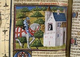Percival a cavallo, da un manoscritto del XV secolo
