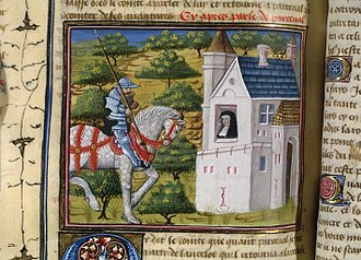 Perceval, the Story of the Grail - Perceval arrives at the hermitage in a 15th-century illustration of Perceval