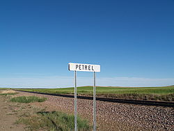 Sign along the railroad tracks in Petrel, North Dakota