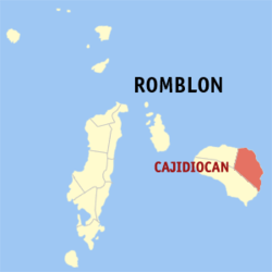 Map of Romblon with Cajidiocan highlighted
