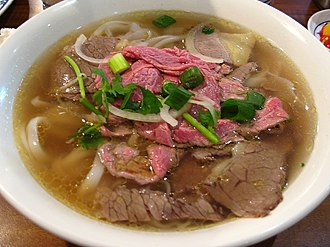 Pho - Pho served with beef brisket