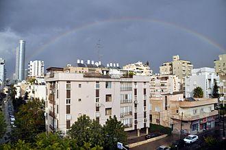 Nahalat Yitzhak - Rainbow over Emek Bracha and Ziman Streets in Nahalat Yitzhak.