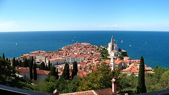 Slovene Istria - View of the Medieval centre of Piran.