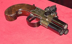 Volley gun - Three-barrel pocket pistol capable of firing all barrels simultaneously
