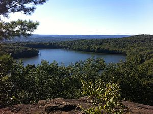 Bradley Mountain - View of Plainville Reservoir (AKA Crescent Lake) and Sunset Rock State Park from the Bradley Mountain summit.