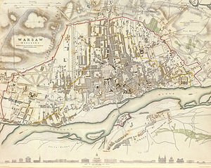 Battle of Warsaw (1831) - 1831 map of Warsaw, with Lubomirski Ramparts marked in red. The main line of Polish defences followed it closely.