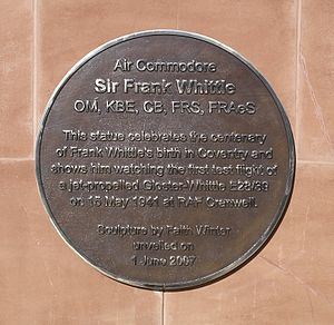 Gloster E.28/39 - Plaque on base of the statue of Frank Whittle in Coventry, England