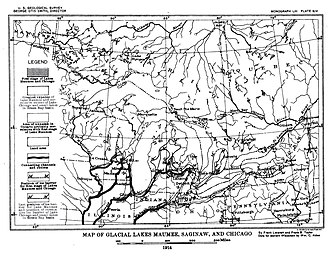 Lake Chicago - Map of Glacial Lake Maumee, Saginaw, and Chicago, based on the USGS Report of 1915