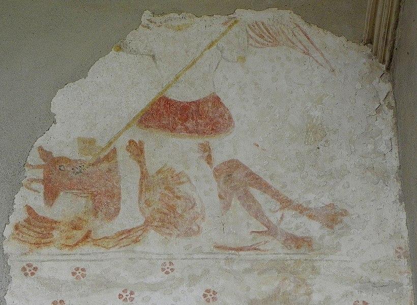Fresques de l'église Saint-Martin de Pommerieux (53). Saint-Michel terrassant le dragon.