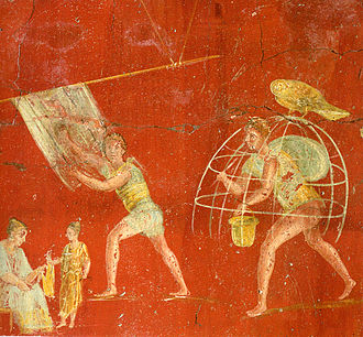 Roman economy - Workers at a cloth-processing shop, in a painting from the fullonica of Veranius Hypsaeus in Pompeii