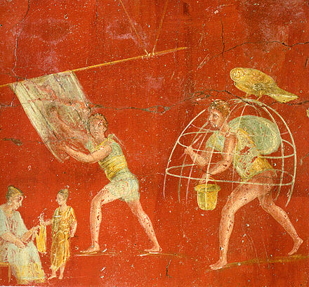 Workers at a cloth-processing shop, in a painting from the fullonica of Veranius Hypsaeus in Pompeii Pompeii - Fullonica of Veranius Hypsaeus 1 - MAN.jpg