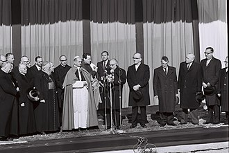Holy See–Israel relations - Pope Paulus VI greeted in Israel by President Zalman Shazar and Prime Minister Levi Eshkol, 1964.