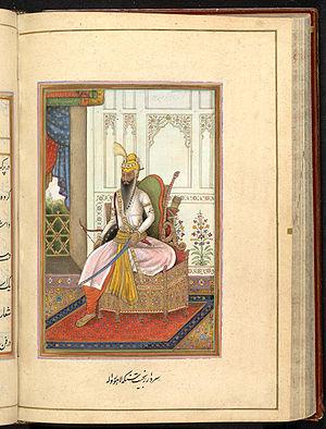 James Skinner (East India Company officer) - A folio of Tazkirat al-umara by James Skinner, 1830, depicting Portrait of Maharaja Ranjit Singh of the Punjab.