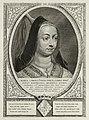 Portret van Maria, hertogin van Bourgondië, dochter van Karel de Stoute met een sluier en een punthoed. Om haar hals een halssnoer met een kruis.De omlijsting is versierd met het wapen van d, NL-HlmNHA 1477 53012925.JPG