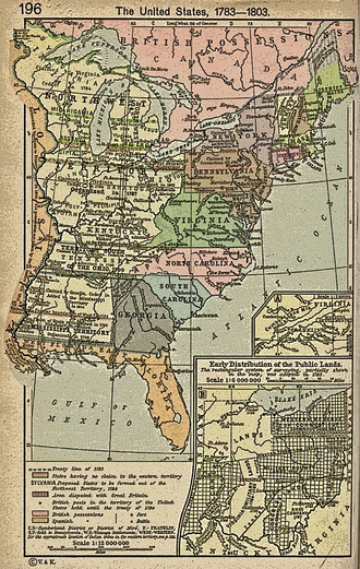 Northwest Ordinance - The territories northwest and southwest of the Ohio River are depicted on this map of the early United States (1783–1803).