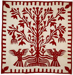 English: Presentation quilt from Oahu, c. 1855...