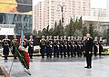 President Aliyev in front of the monument of Khojaly num2.jpg