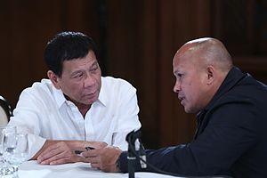 Ronald dela Rosa - President Rodrigo Duterte meeting with PNP Police Director General Ronald Dela Rosa in the Malacañan Palace, August 2016.