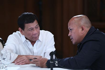 Duterte speaking with PNP Police Director General Ronald Dela Rosa in the Malacanang Palace on August 16, 2016 President Duterte with PNP Chief Bato 081616.jpg