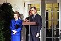 President George H. W. Bush, Prime Minister Margaret Thatcher, and NATO Secretary General Manfred Woerner make statements to the press regarding Iraq's invasion of Kuwait.jpg