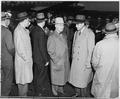 President Truman talks with Ambassador W. Averell Harriman at the Gatow airport in Berlin, Germany, before boarding... - NARA - 198709.tif