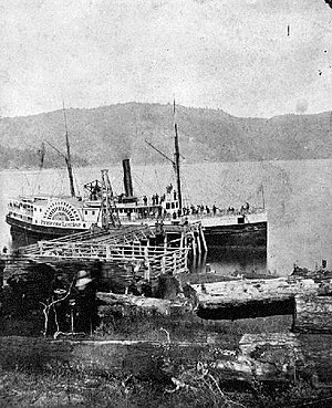 Princess Louise (sidewheeler) - Princess Louise in the 1880s, at a small dock somewhere in British Columbia.