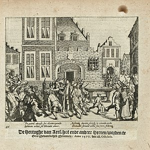 Philipe de Croÿ, Duke of Aarschot - Philipe de Croÿ, Duke of Aarschot and other nobles are taken prisoner in the Court of St. Baeffs in Ghent on 28 October 1577. Print from 'The Wars of Nassau' by Baudartius.