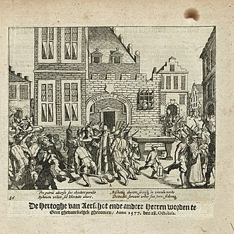 Philippe III de Croÿ - Philipe de Croÿ, Duke of Aarschot and other nobles are taken prisoner in the Court of St. Baeffs in Ghent on 28 October 1577. Print from 'The Wars of Nassau' by Baudartius.