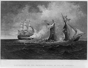 Confederate privateer - Destruction of the privateer Petrel by the USS St. Lawrence.