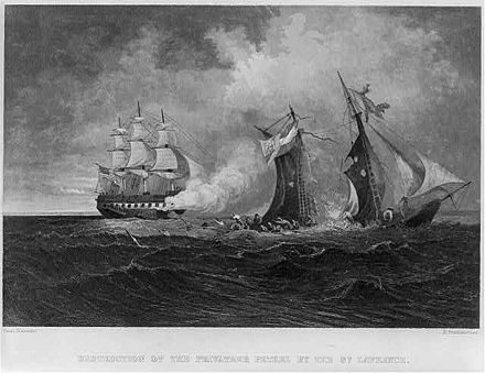 Destruction of the privateer Petrel by the USS St. Lawrence.