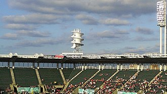 Progressive Field - The corkscrew shaped wind turbine at Progressive Field was located in right field during the 2012 season