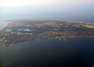 Aerial view of Provincetown with harbor toward bottom right