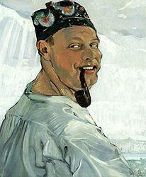Tadeusz Pruszkowski: Self-portrait with a pipe.