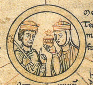 Matilda of Ringelheim - King Henry and Matilda, detail from the Chronica sancti Pantaleonis, 12th century