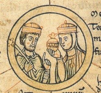 Matilda of Ringelheim - King Henry and Matilda, detail from the Chronica sancti Pantaleonis, 12th century
