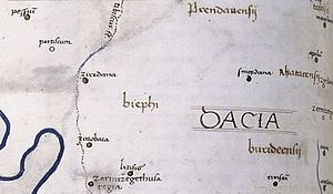 Sarmizegetusa Regia - Zarmizegethusa  Regia on Dacia's map from a medieval book made after Ptolemy's Geographia (ca. 140 AD).