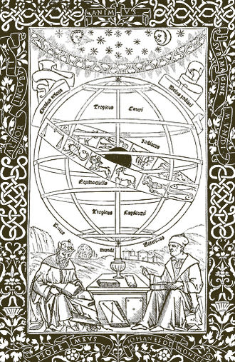 Tetrabiblos - Ptolemy instructing Regiomontanus under an image of the zodiac encircling the celestial spheres. Frontispiece from Ptolemy's Almagest, (Venice, 1496).