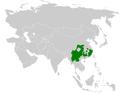 Pycnonotus xanthorrhous distribution map.png