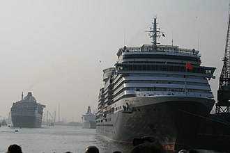 MS Queen Victoria - Queen Victoria in her home port; Queen Elizabeth 2 is astern, and Queen Mary 2 is passing them