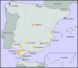 Burning of convents in Spain (1931) - Locations of the burnings